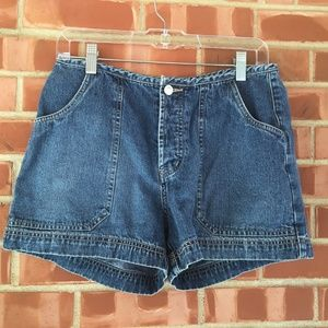 Buckle Denim Button Fly High Rise Shorts
